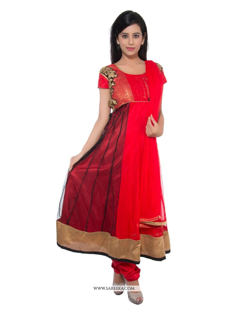 Red Patch Border Work Net Churidar Designer Suit