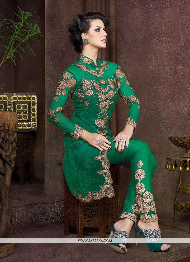 Buy Invaluable Green Net Pant Style Suit Online : India