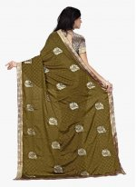 Green Patch Border Work Faux Chiffon Classic Saree