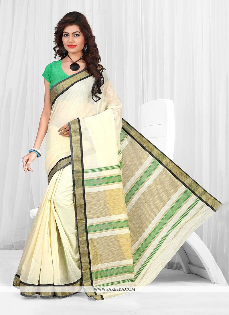 Cream Casual Saree