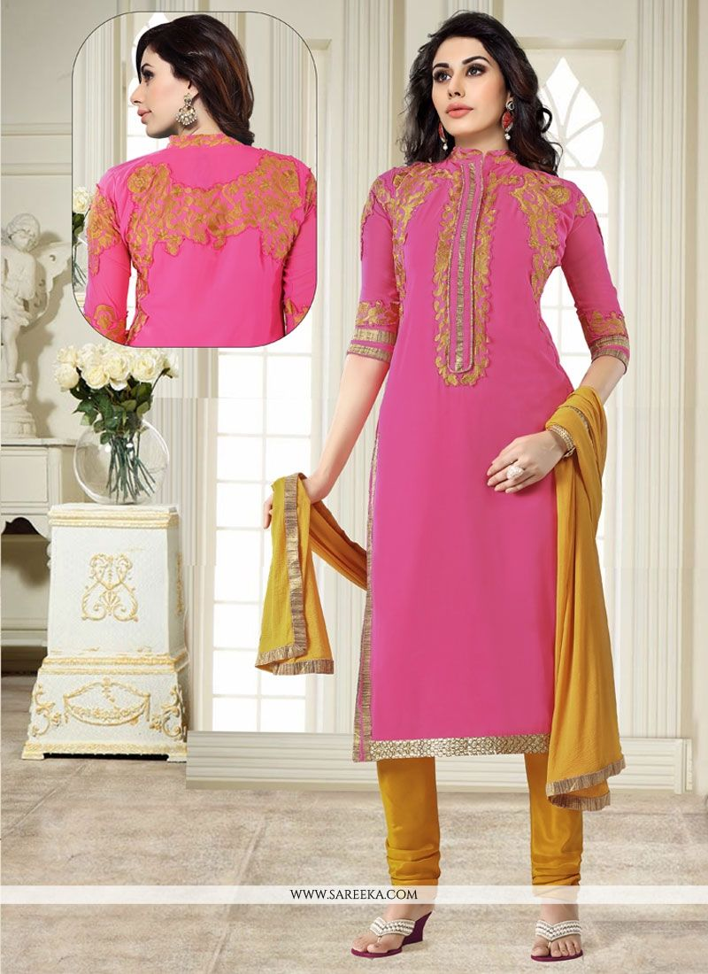 Georgette Pink Churidar Designer Suit
