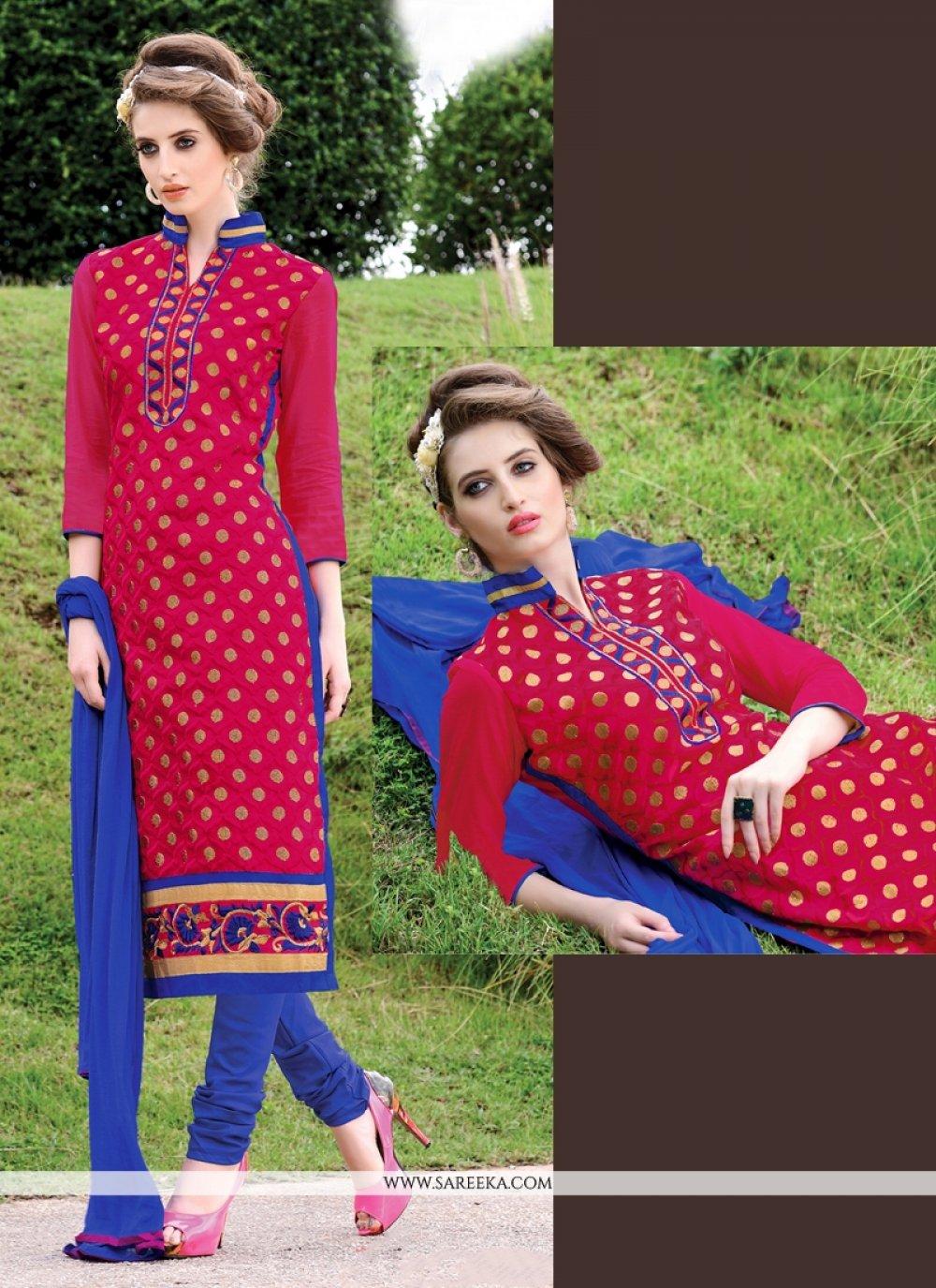 Lace Work Chanderi Hot Pink Churidar Suit