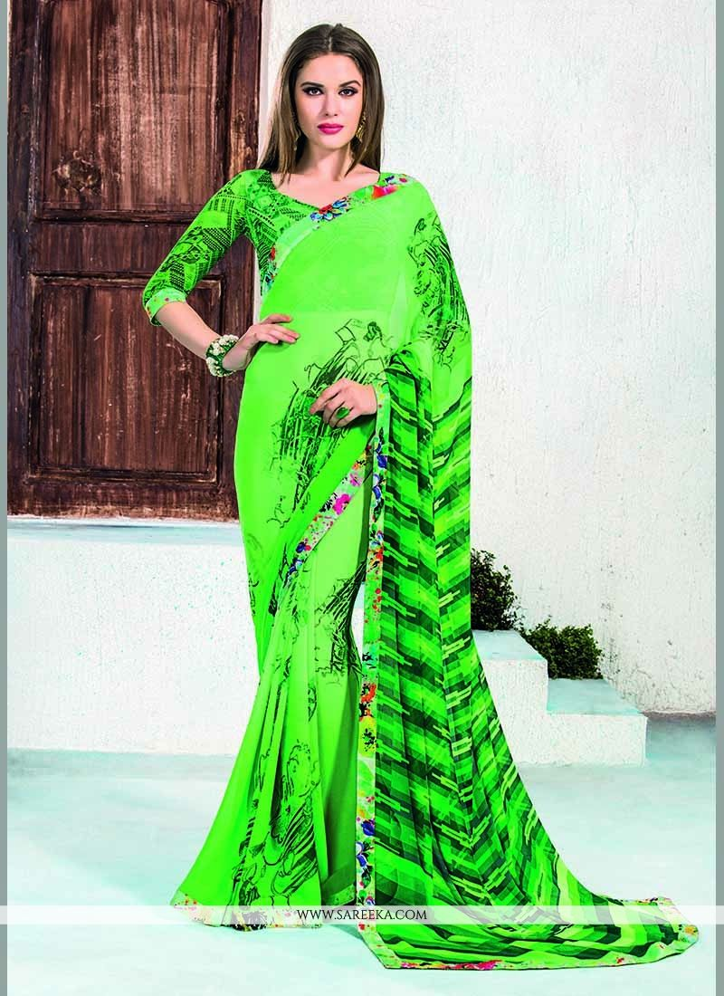 Patch Border Work Green Casual Saree