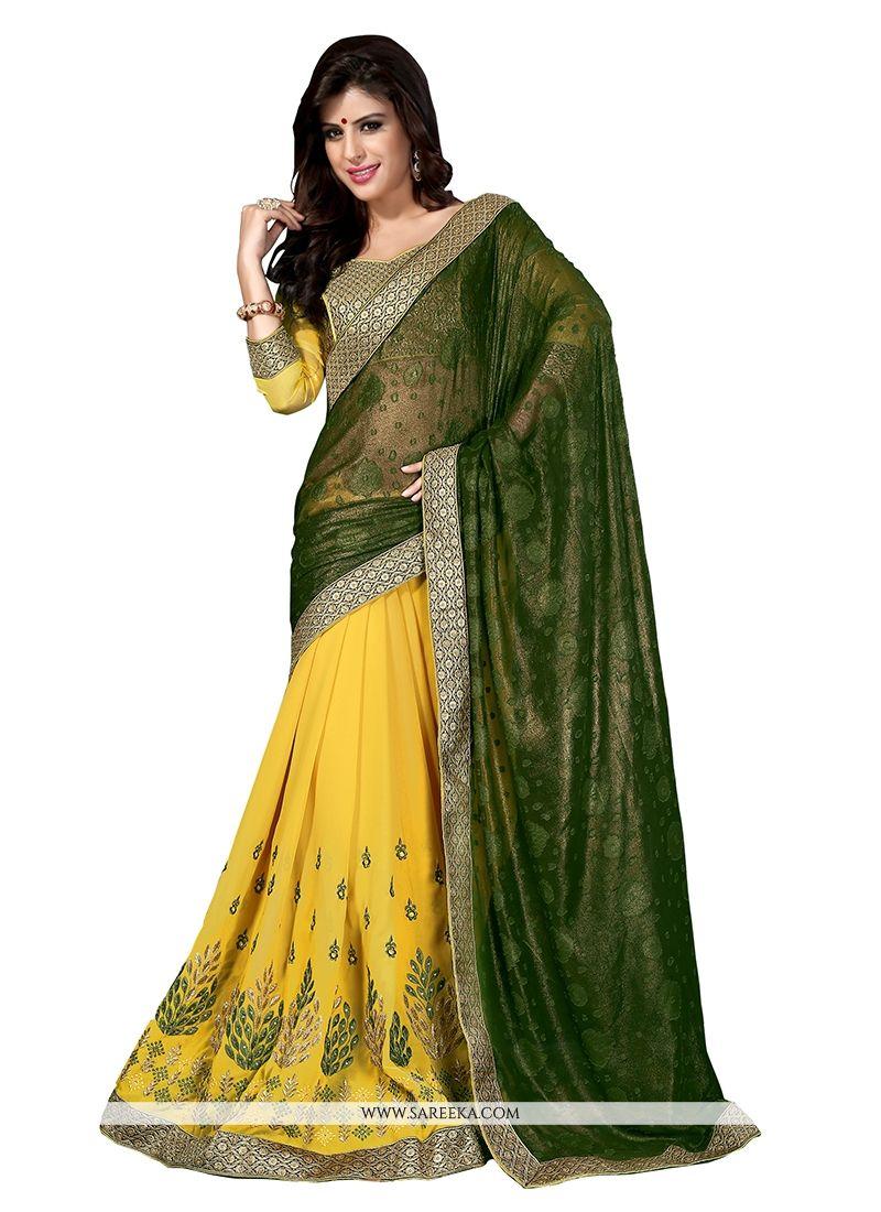 Shimmer Georgette Designer Half N Half saree