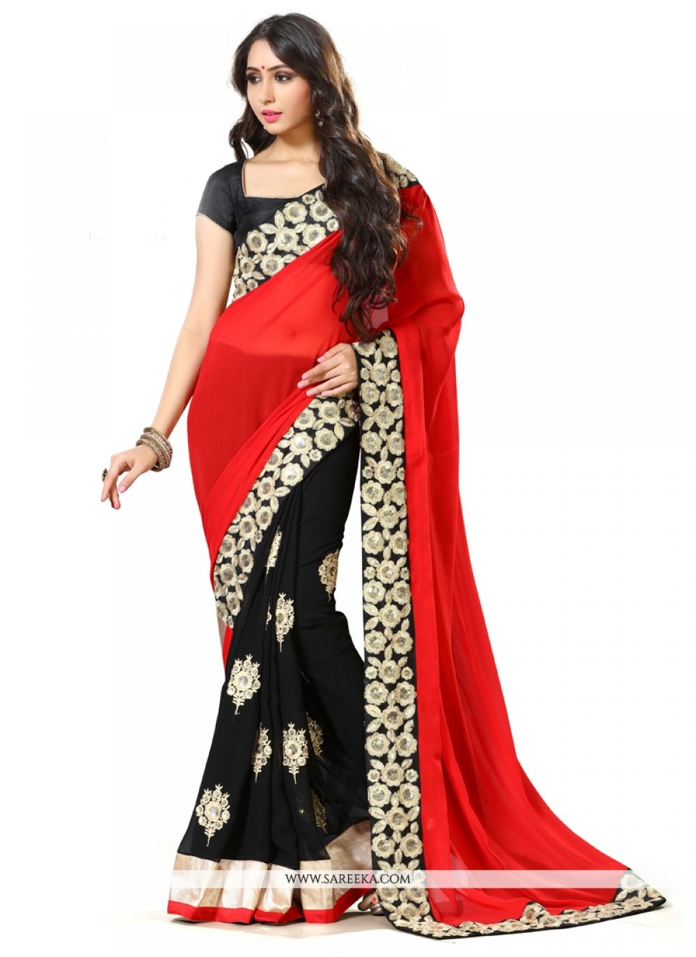 Black and Red Embroidered Work Georgette Traditional  Saree