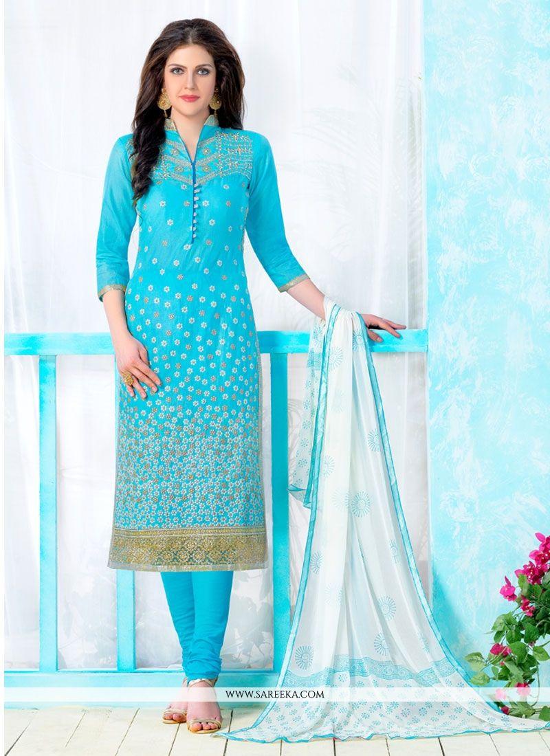Embroidered Work Turquoise Cotton   Churidar Designer Suit