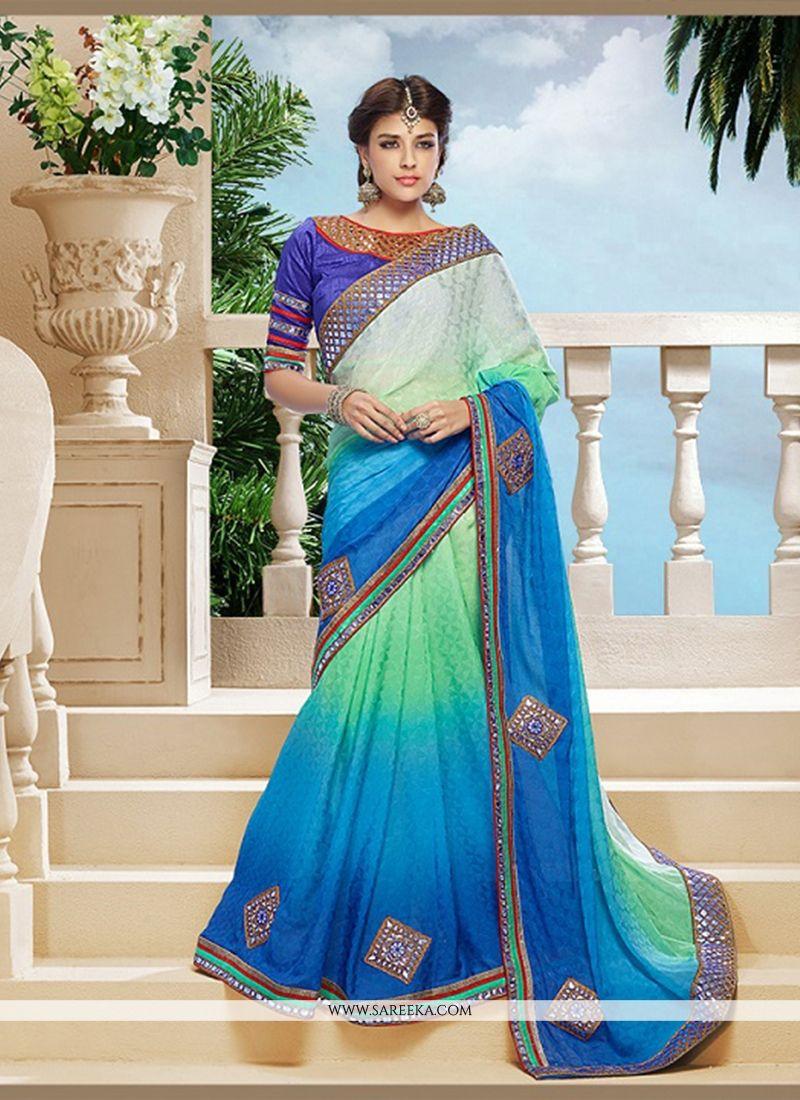 Blue Jacquard Classic Designer Saree