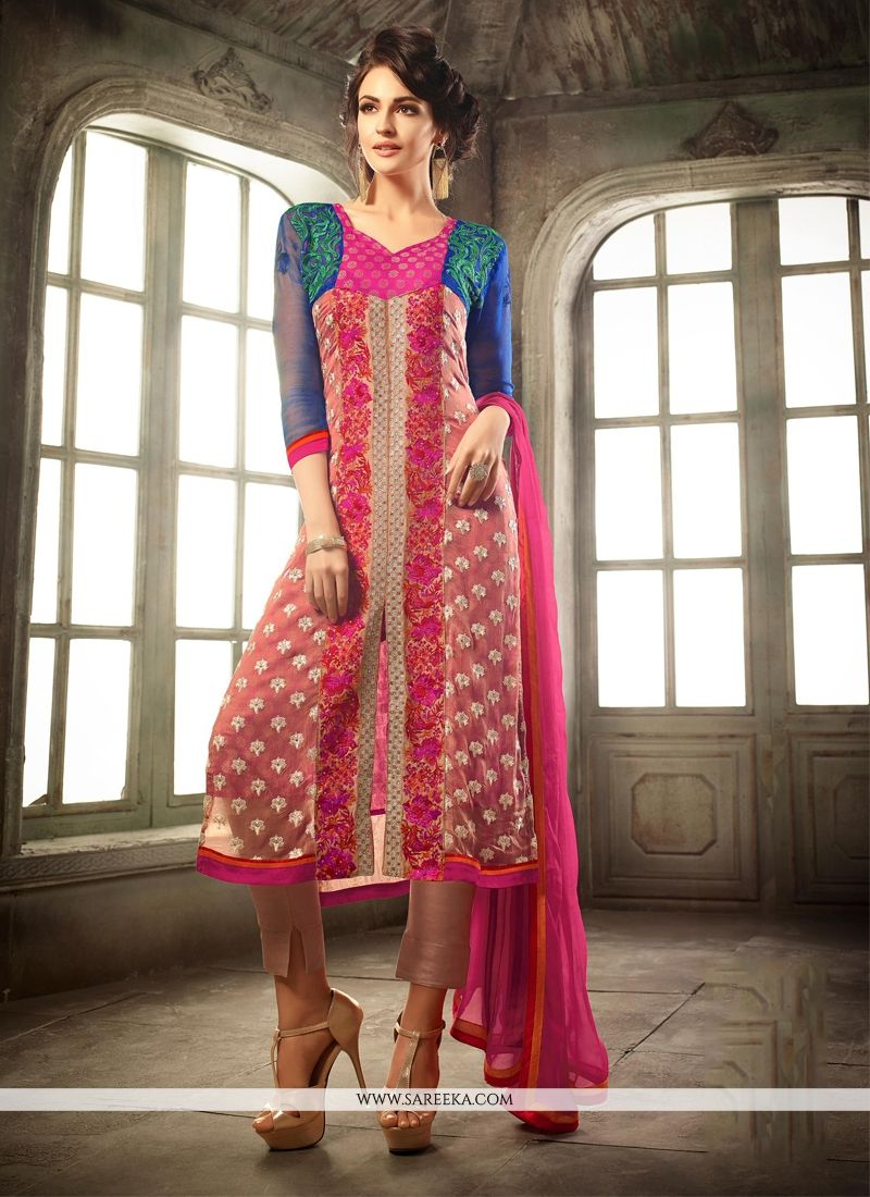 63be59282d150 Buy Embroidered Work Hot Pink Pure Chiffon Churidar Designer Suit Online :  France -