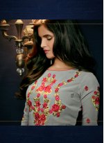 Georgette Grey Embroidered Work Pant Style Suit