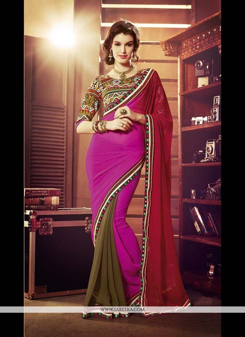 Hot Pink and Red Georgette Designer Saree