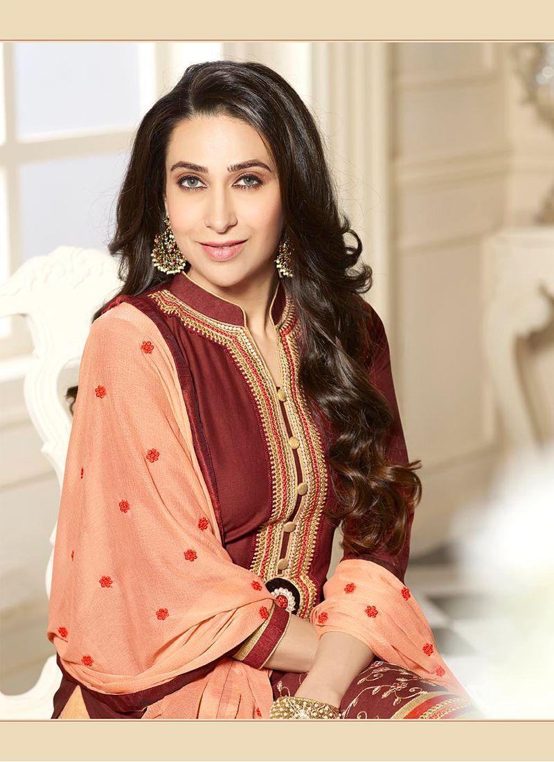 90a8e6d1b3 ... Karishma Kapoor Brown and Peach Cotton Designer Patiala Salwar Kameez