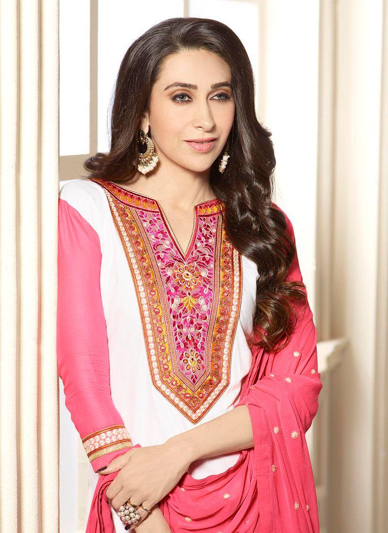 957de18987 ... Karishma Kapoor Off White and Pink Designer Patiala Salwar Kameez