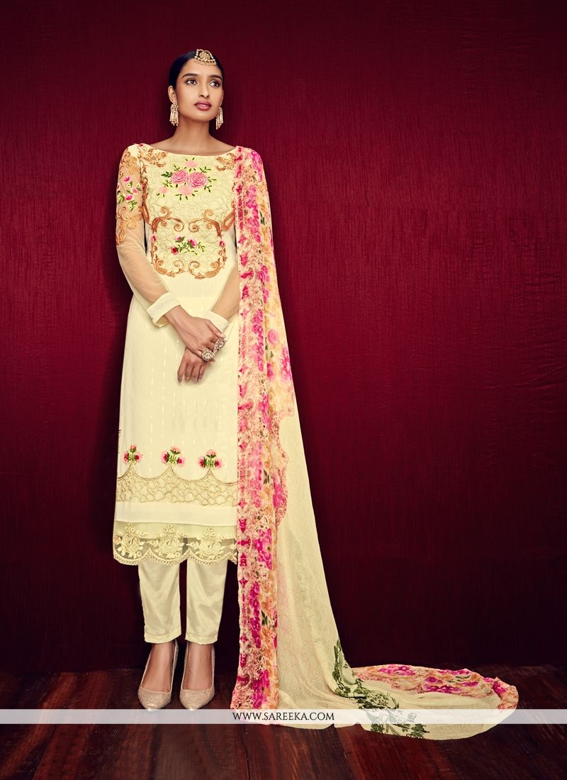 Shop Latest Embroidered Work Cream Georgette Pant Style Suit ...