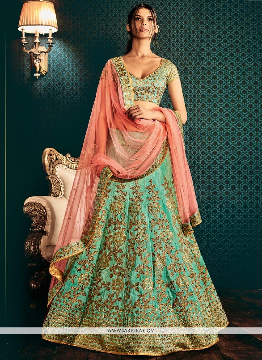 Sea Green Embroidered Work Bhagalpuri Silk Lehenga Saree