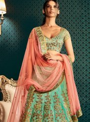 Sea Green Embroidered Work Bhagalpuri Silk Lehenga Saree