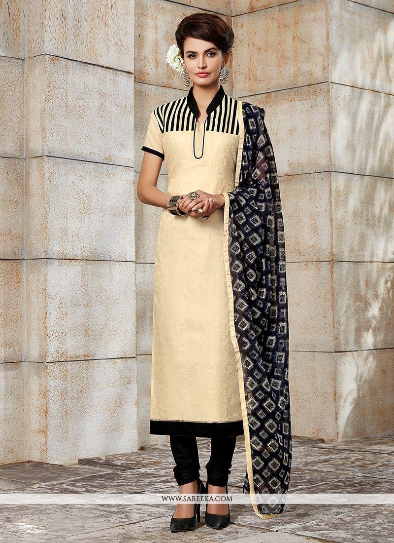 Embroidered Work Beige Churidar Designer Suit
