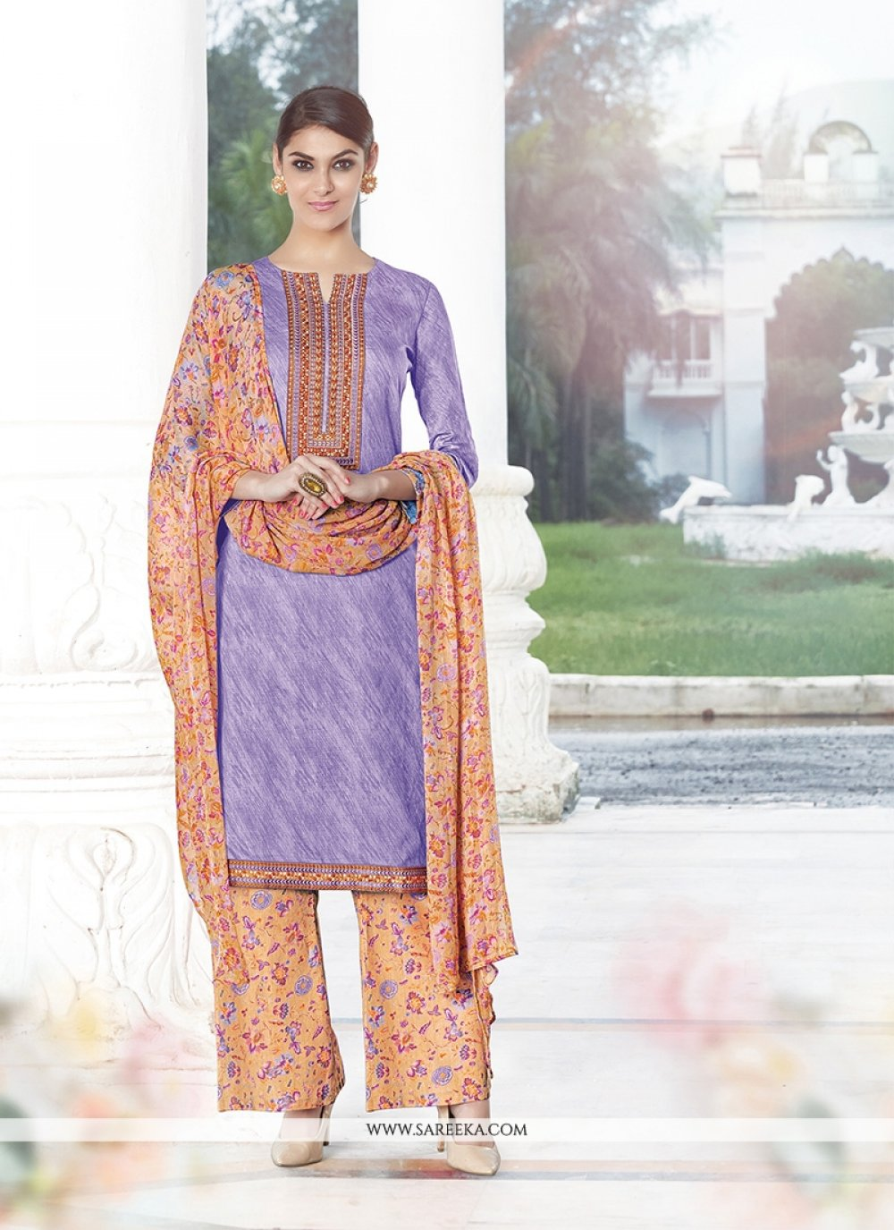 Print Work Purple Cotton Satin Designer Palazzo Salwar Suit
