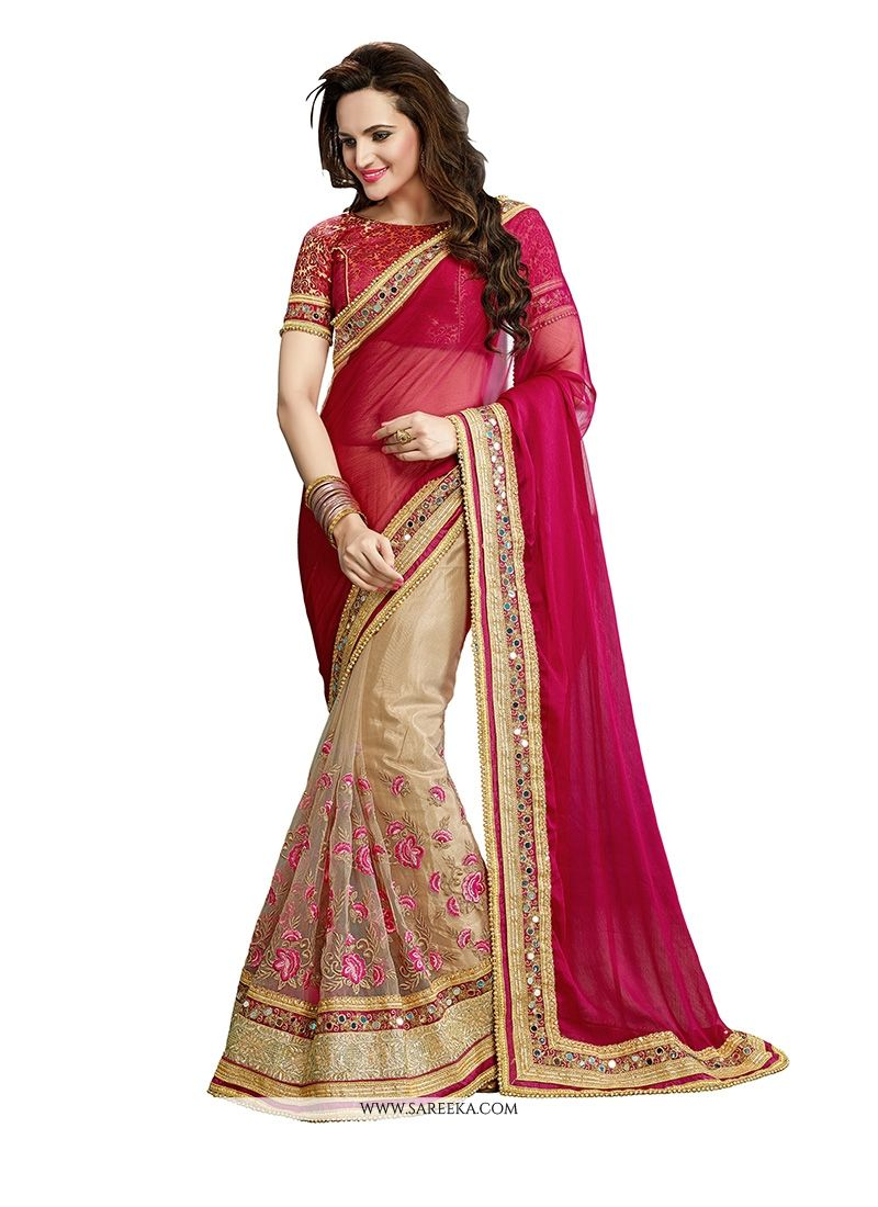 Beige Patch Border Work Net Classic Designer Saree