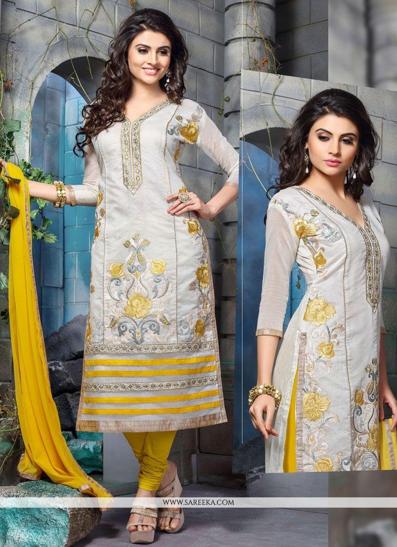 Embroidered Work Off White Chanderi Cotton Churidar Designer Suit