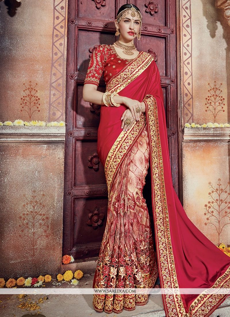 fd238e4b395ee2 Buy Georgette Designer Bridal Sarees Online   Malaysia -