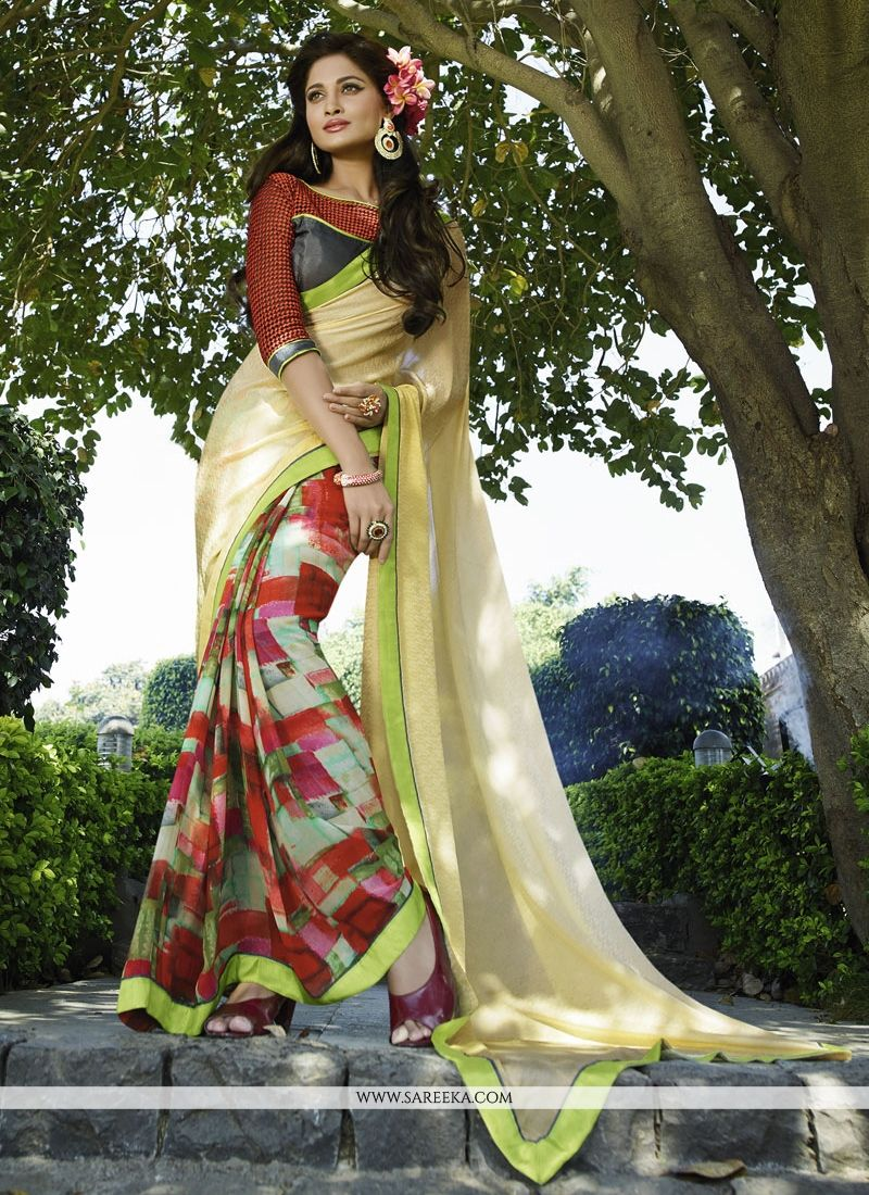 Georgette Multi Colour Patch Border Work Designer Saree