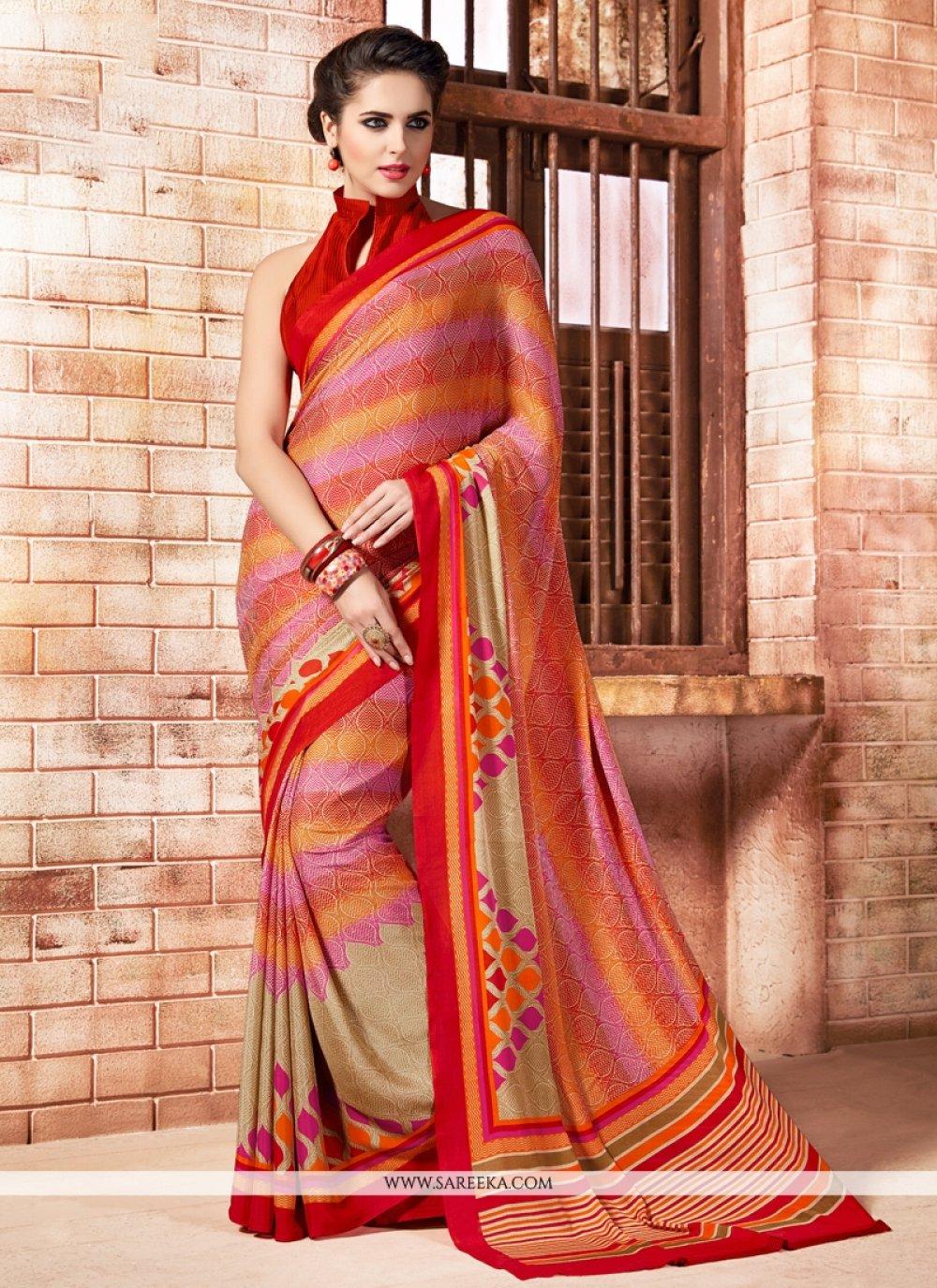 Multi Colour Print Work Casual Saree