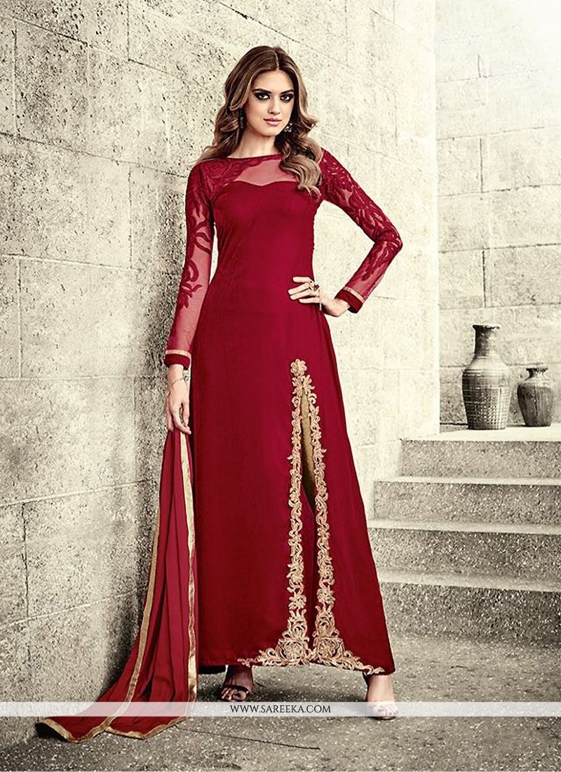 Buy Lively Red Designer Salwar Suit Online : New Zealand