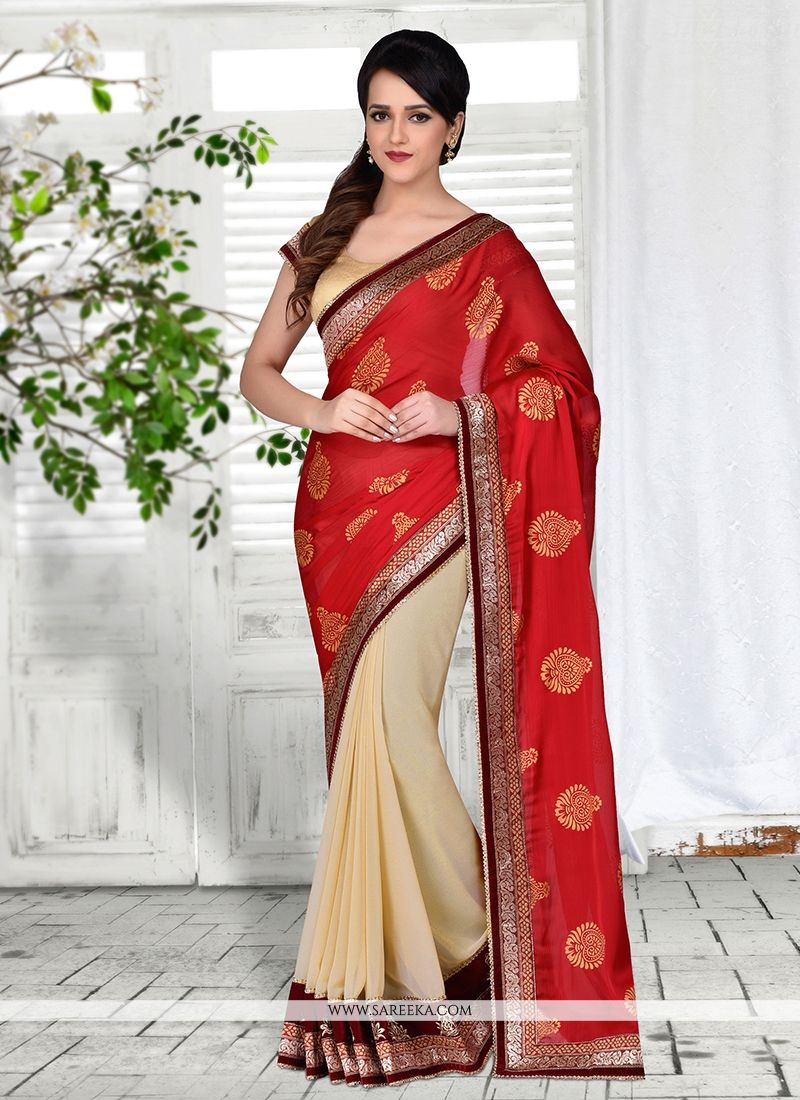 Lordly Brasso Georgette Red Designer Saree