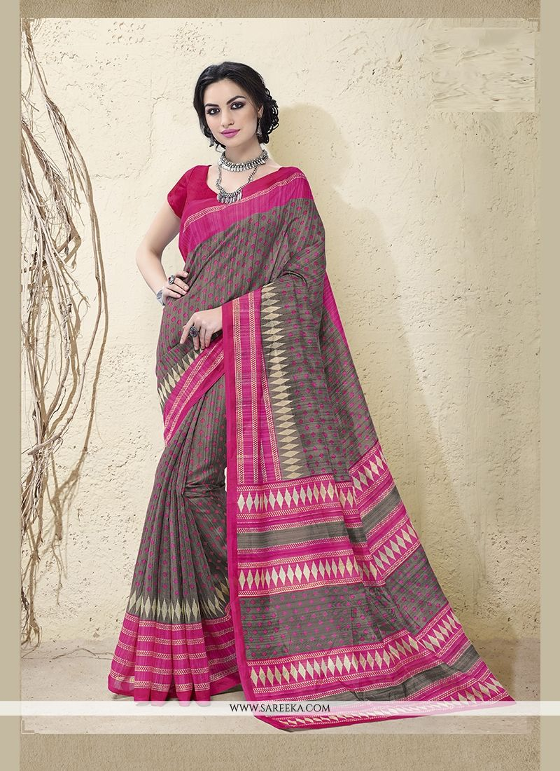 Lordly Cotton Silk Hot Pink Print Work Casual Saree
