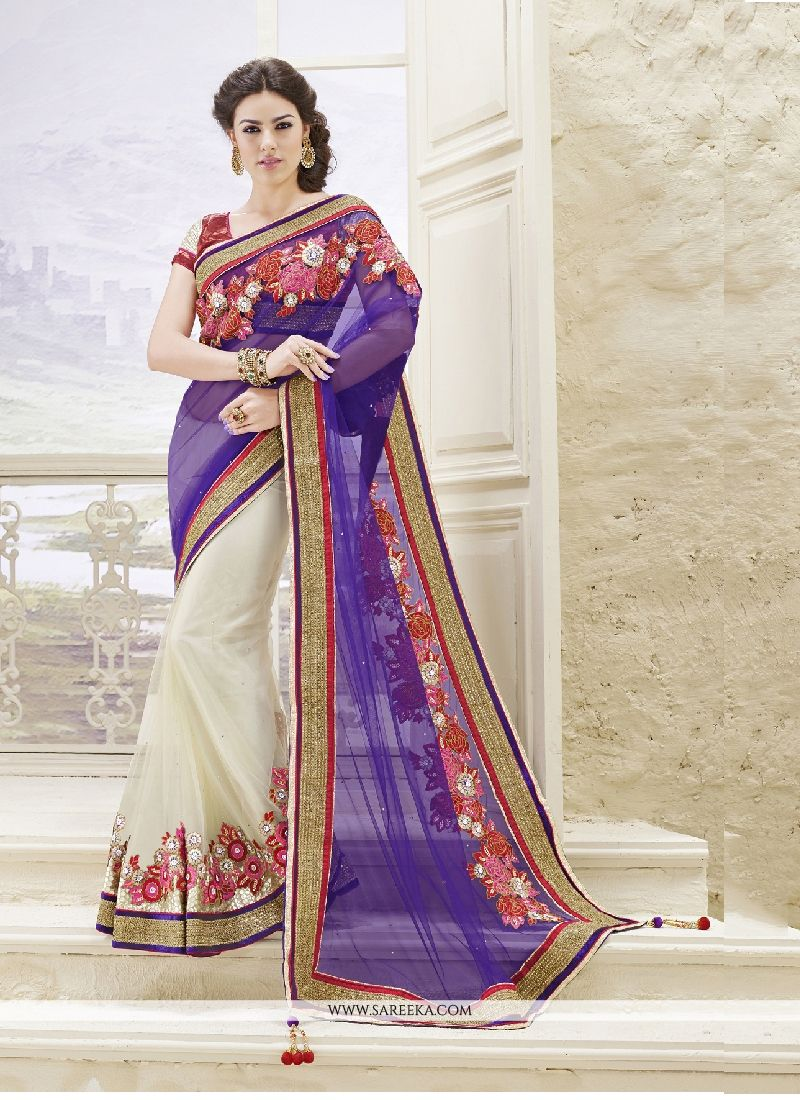 Lordly Off White Net Classic Designer Saree