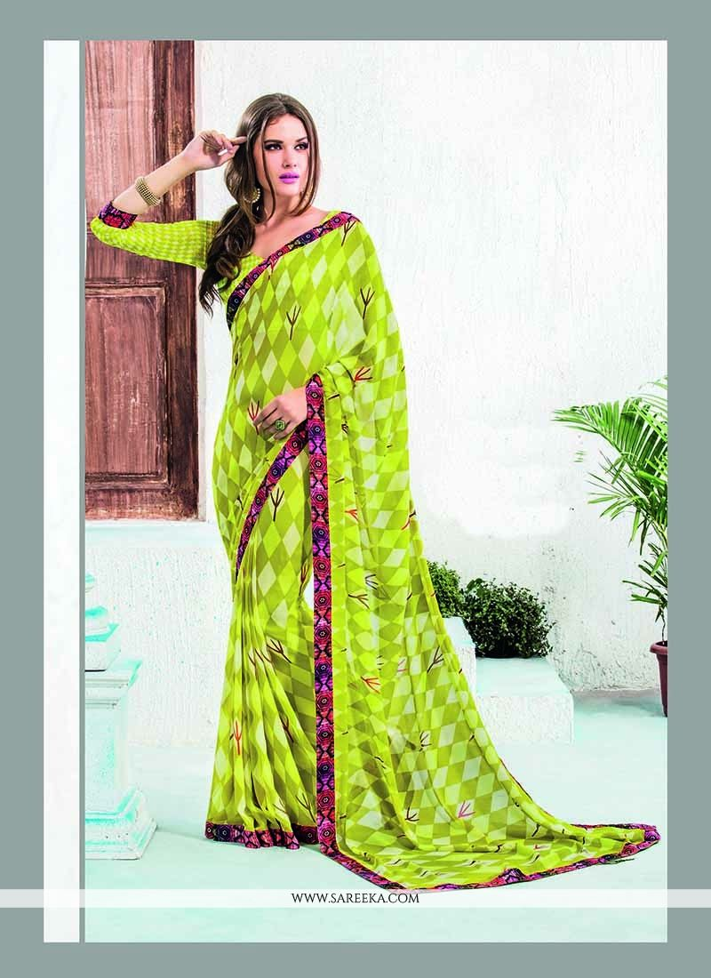 Lordly Patch Border Work Georgette Casual Saree