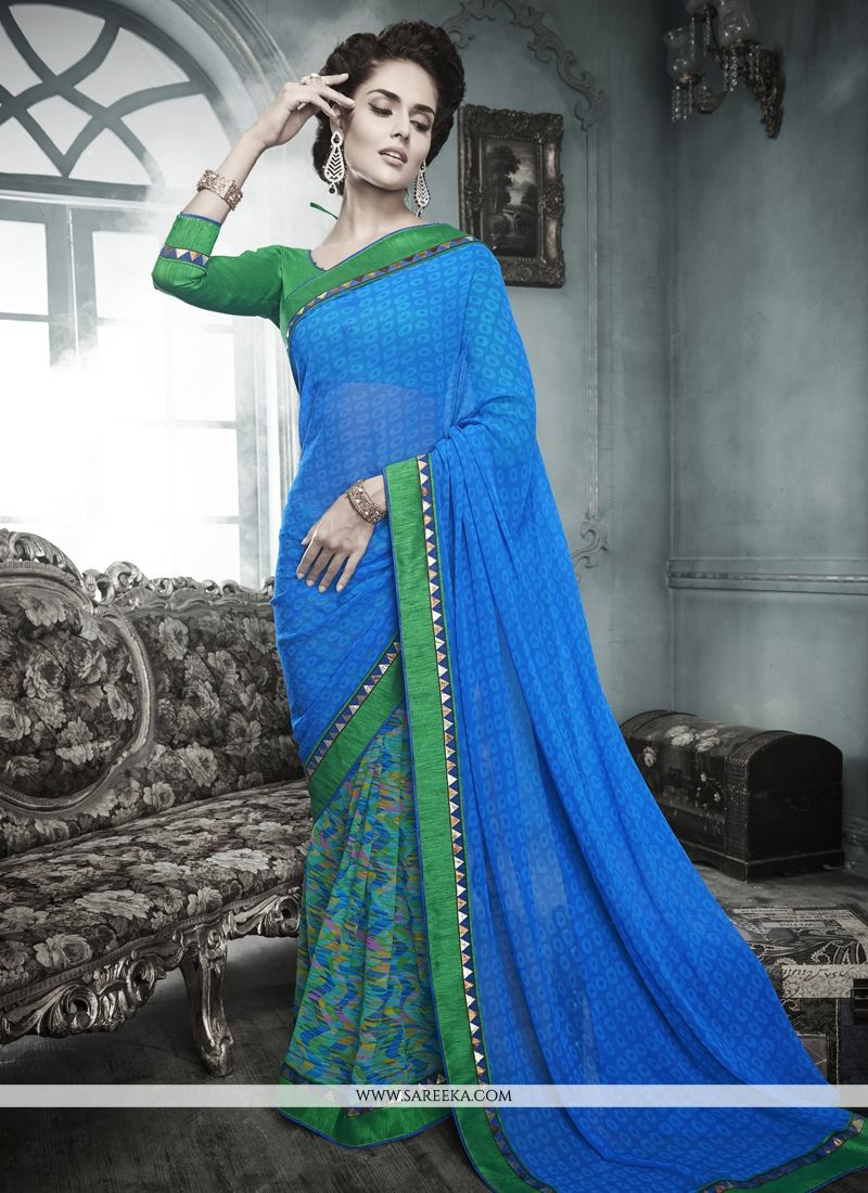 Lordly Print Work Multi Colour Georgette Designer Saree