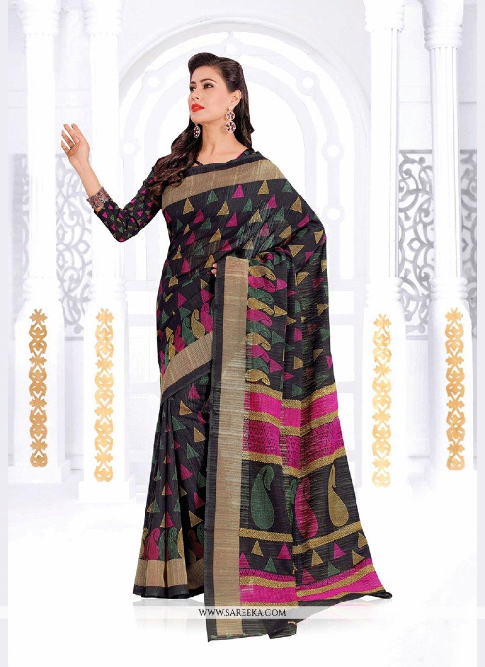 Black Print Work Silk Casual Saree