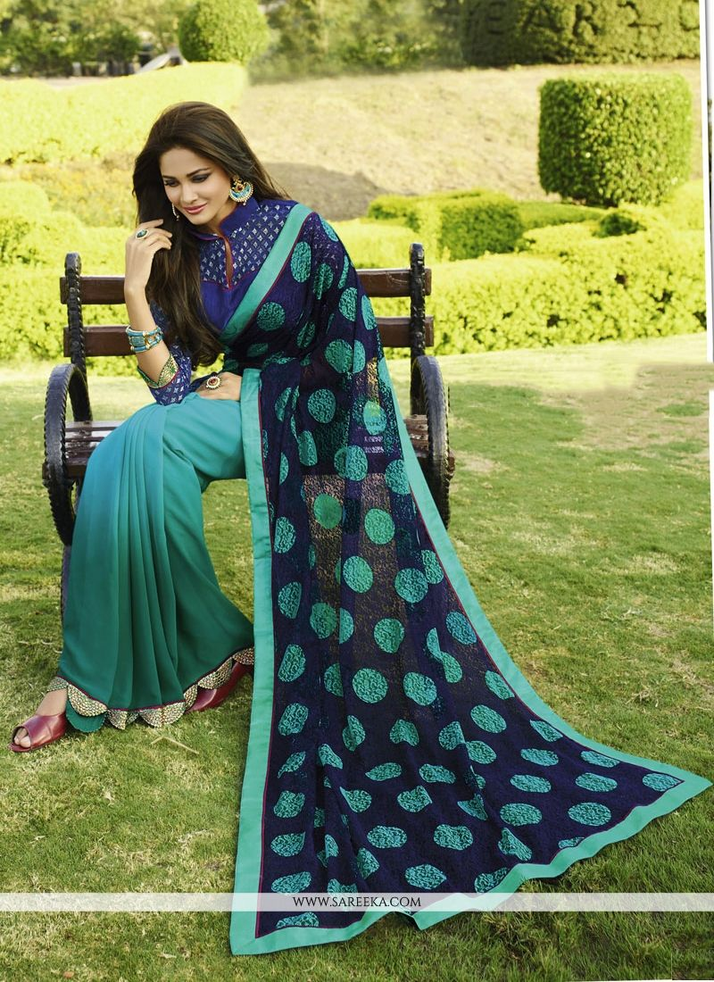 Patch Border Work Multi Colour Georgette Designer Saree