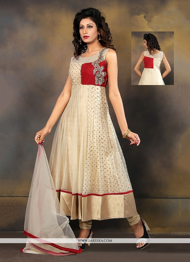 Beige Embroidered Work Fancy Fabric Anarkali Salwar Kameez