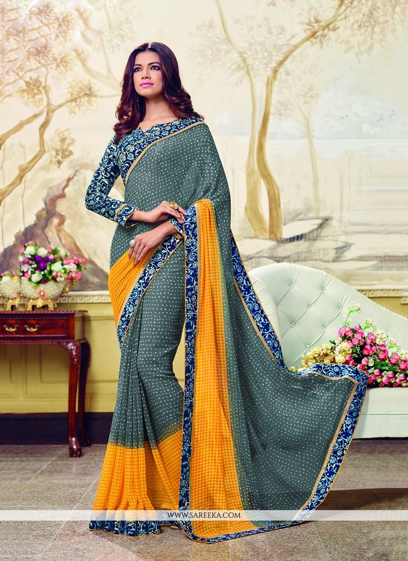 Georgette Patch Border Work Printed Saree