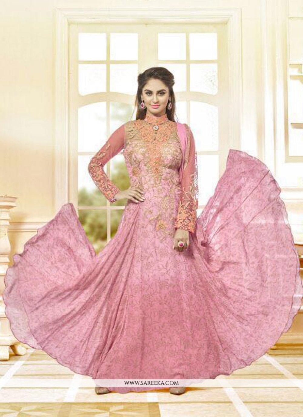 Georgette Pink Anarkali Salwar Kameez