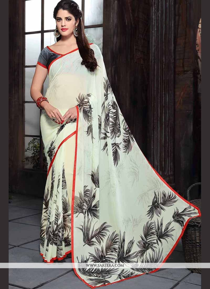 Print Work Off White Georgette Casual Saree