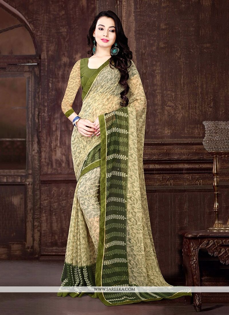 Lurid Georgette Beige Casual Saree