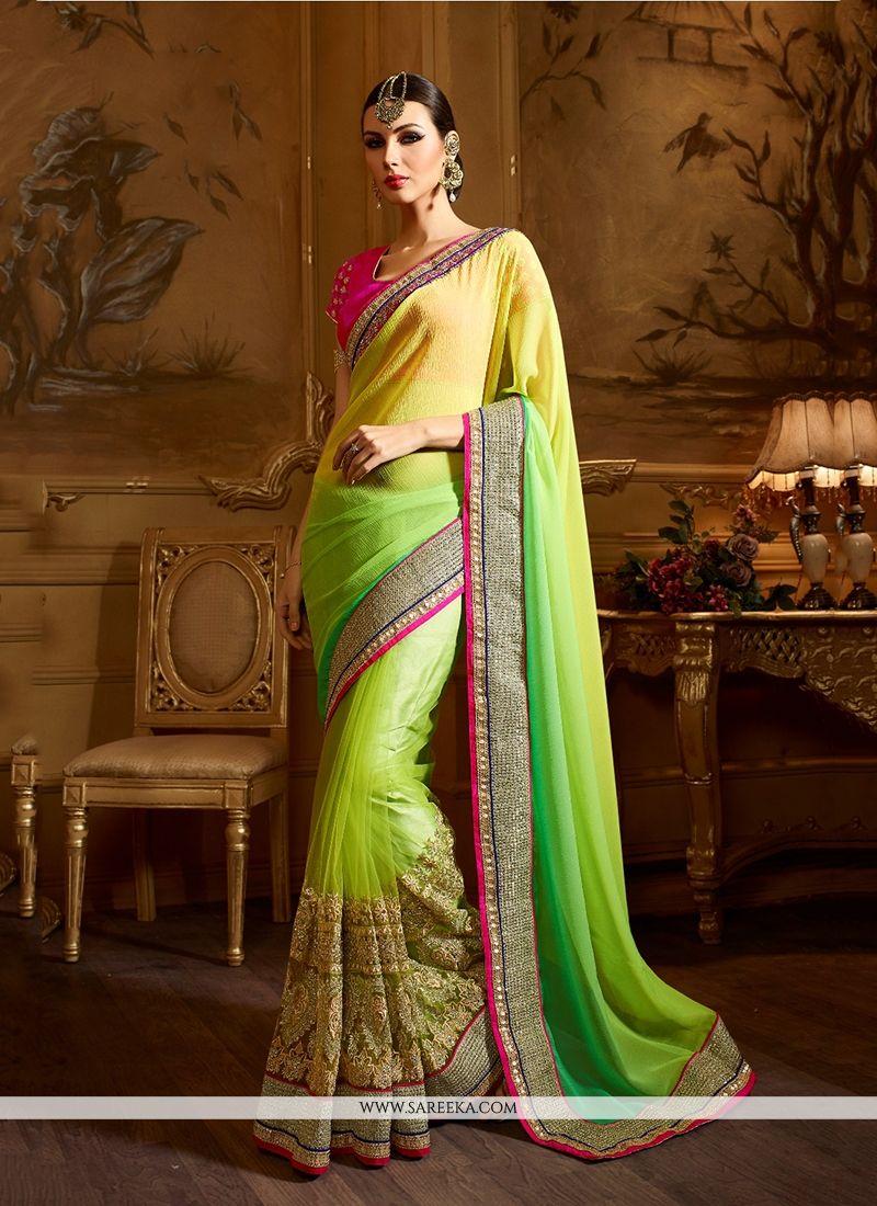 Lurid Green Patch Border Work Classic Designer Saree