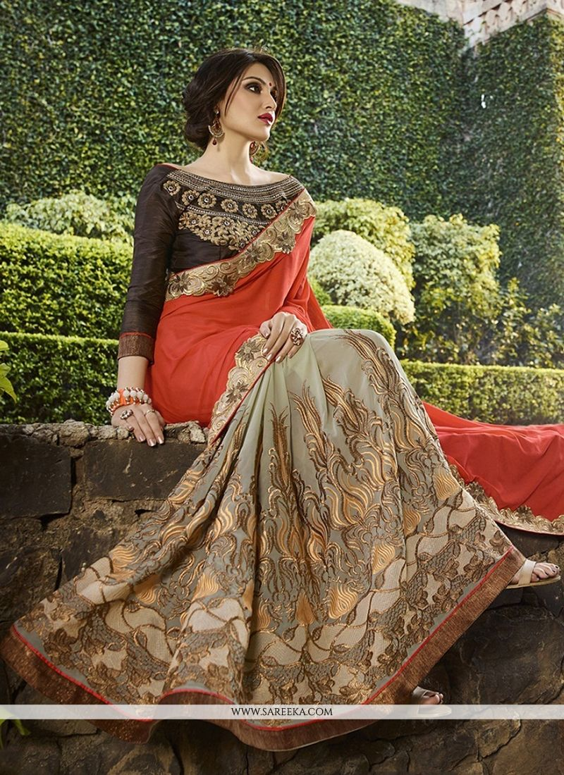 Lurid Orange Classic Designer Saree