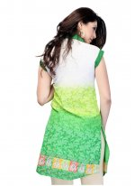 Lustre Lace Work Sea Green Cotton   Casual Kurti