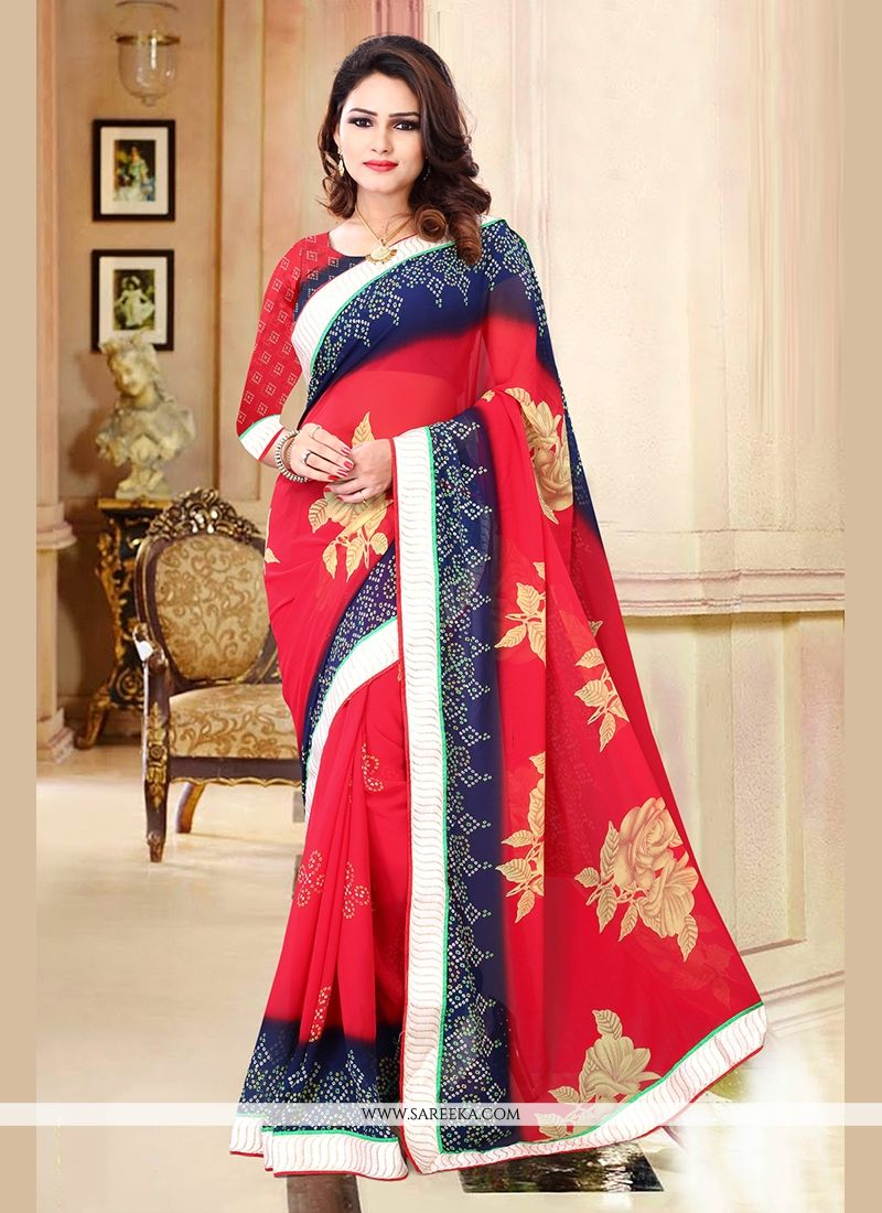 Lustre Red Patch Border Work Casual Saree