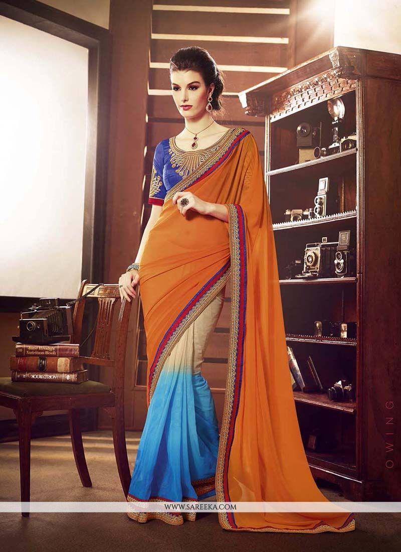 Lustrous Embroidered Work Multi Colour Designer Saree