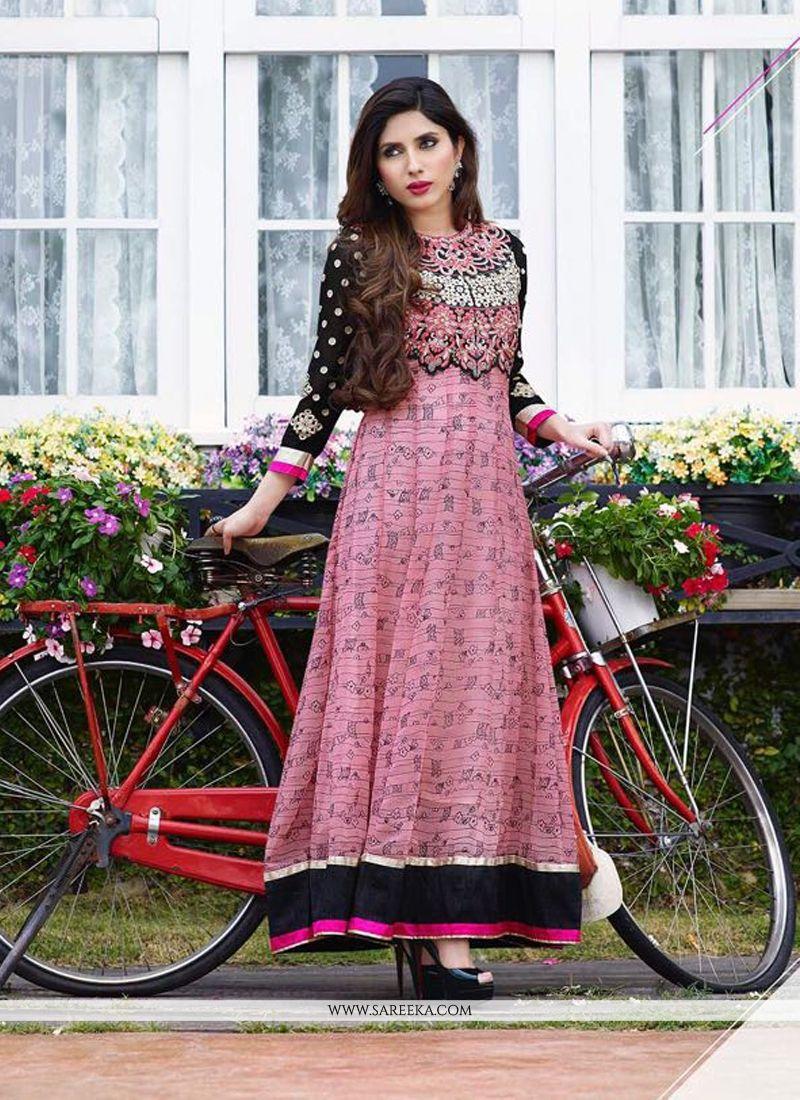 Lustrous Georgette Embroidered Work Anarkali Salwar Kameez