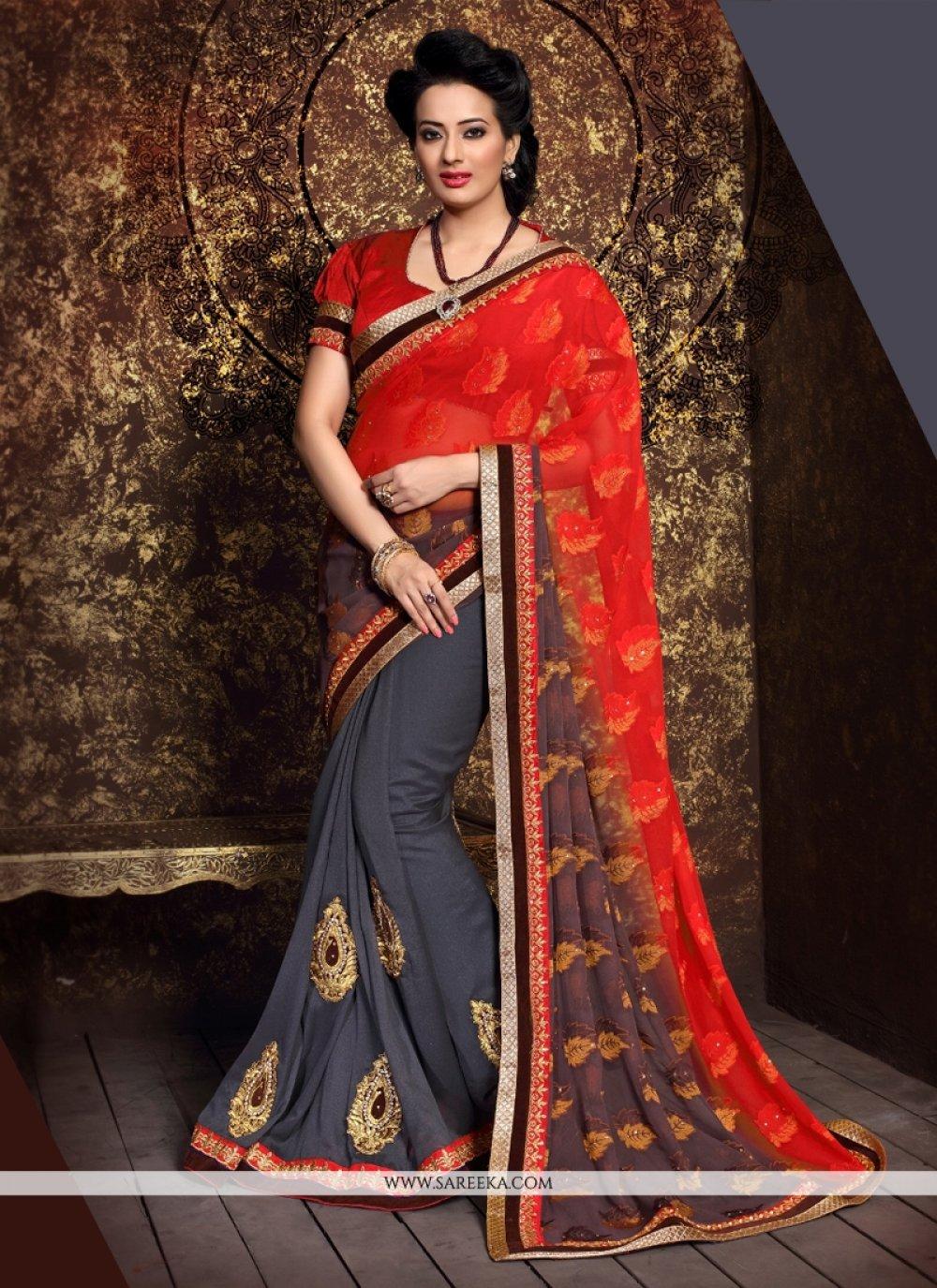 Lustrous Georgette Patch Border Work Designer Half N Half saree