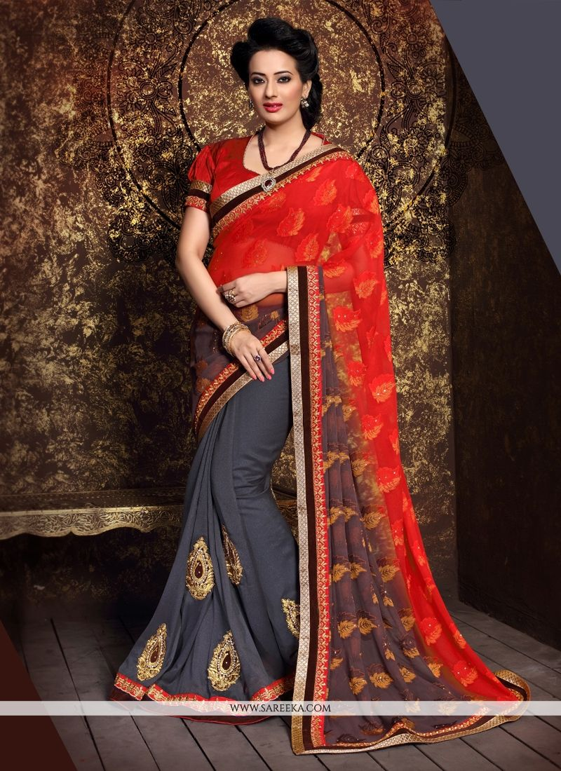 Lustrous Georgette Patch Border Work Designer Half N Half saree