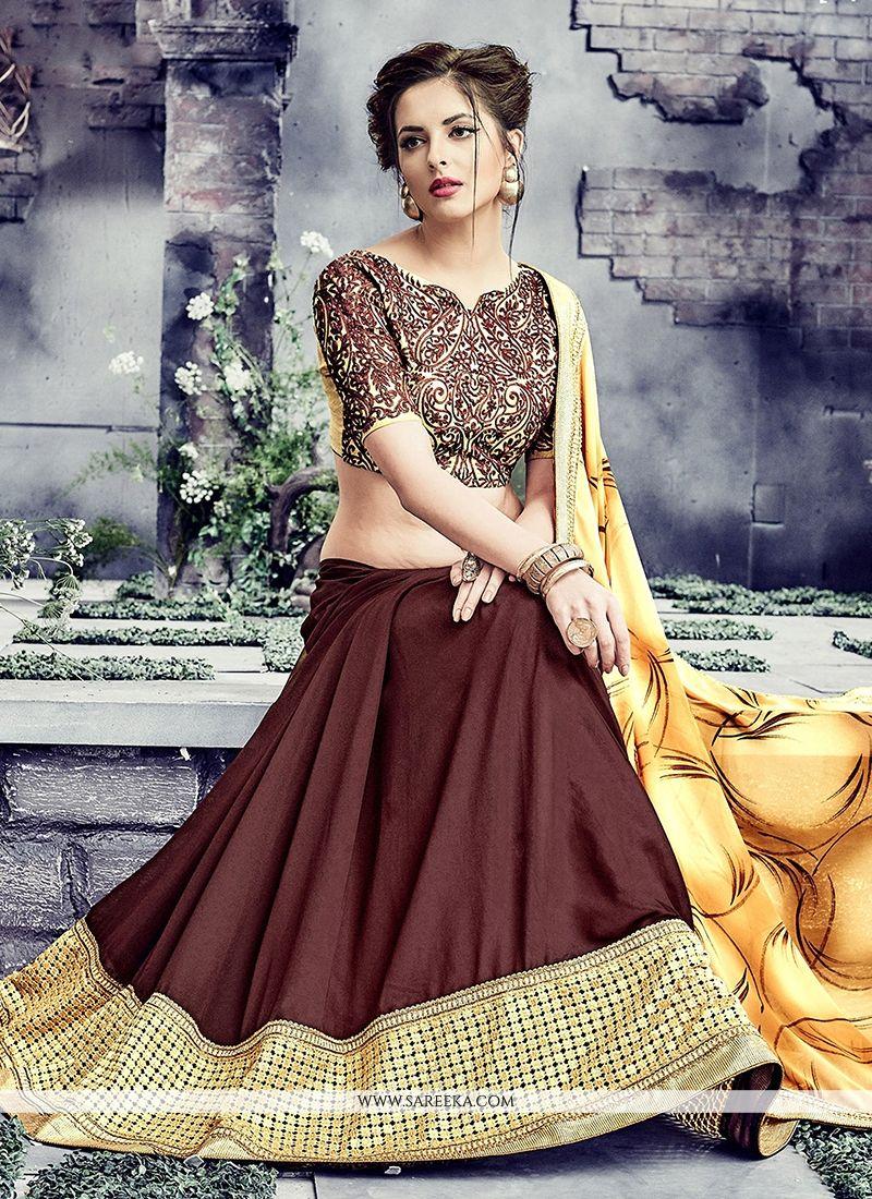Luxurious Brown Georgette Designer Saree
