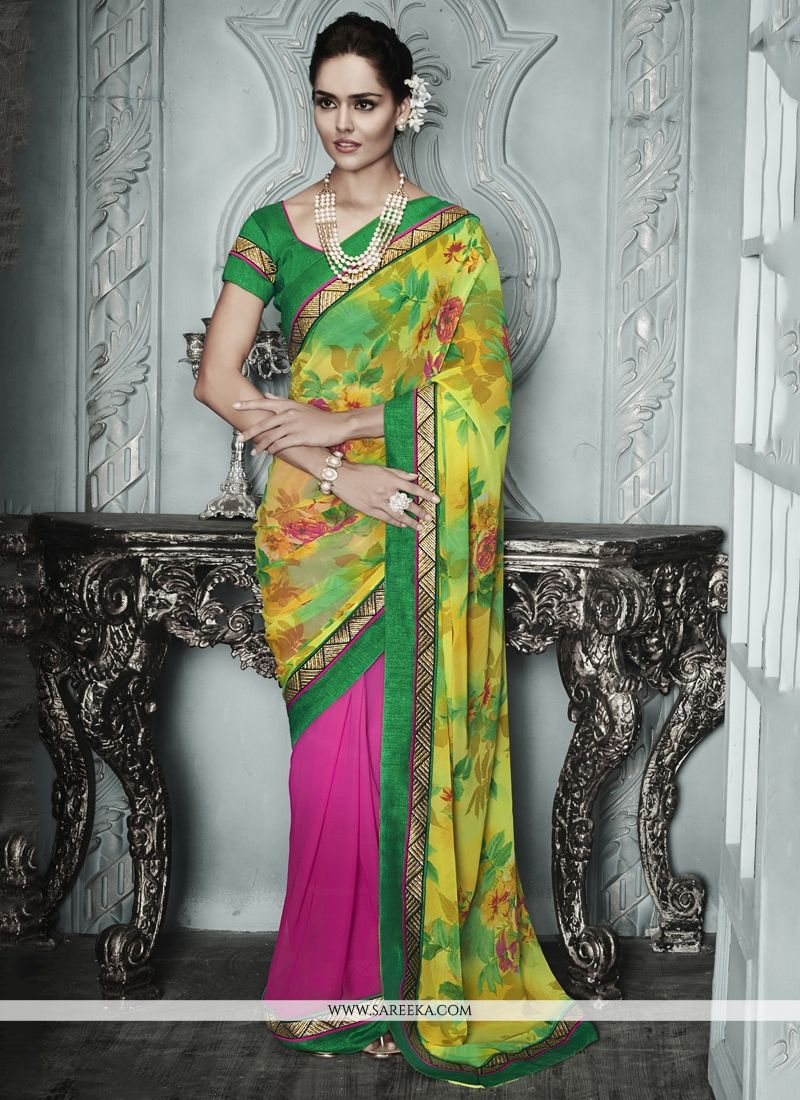 Luxurious Multi Colour Patch Border Work Georgette Designer Saree