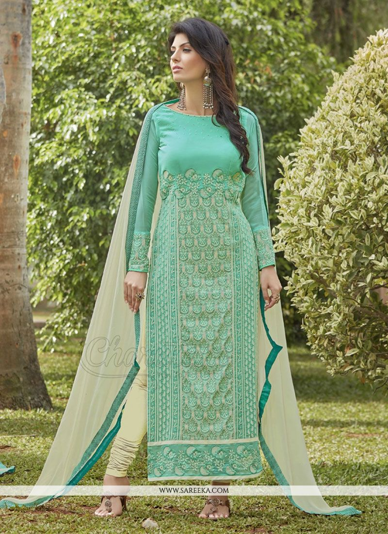Embroidered Work Sea Green Georgette Designer Suit